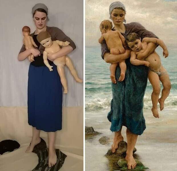 """16. Виржини Демон-Бретон """"Жена рыбака, идущая купать своих детей"""" (1881)"""