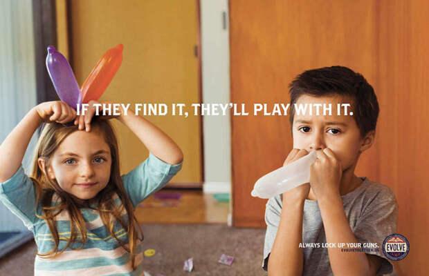Недетские игрушки: провокационная социальная реклама о безопасном хранении оружия