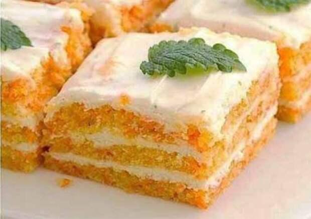 пирожное с морковью и творожным кремом