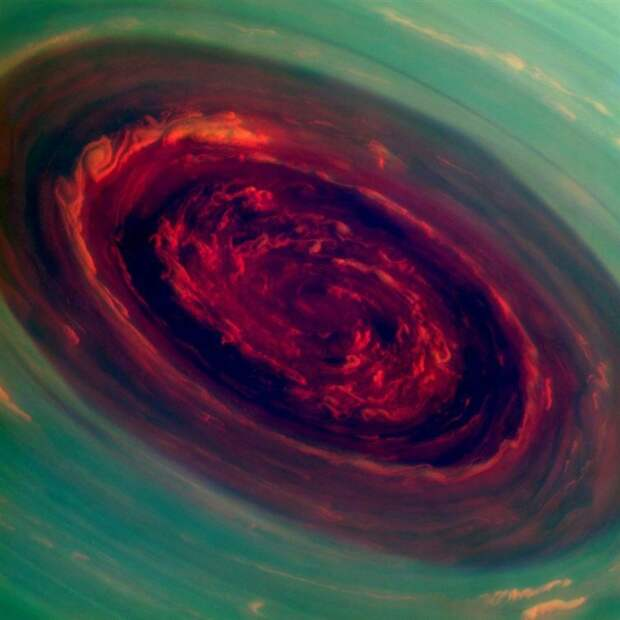 Северный полюс Сатурна во время шторма жизнь, интересные, фото