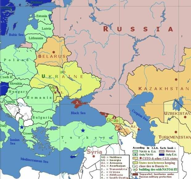 """На карте: сегодня за три """"буферные"""" страны - Белоруссию, Украину и Молдавию - между Европой и Россией развернулось самое настоящее побоище"""