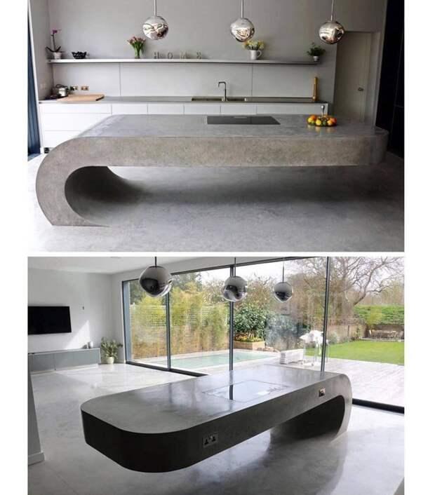 Просто стол из бетона бетон, дизайнерские штучки, из бетона, крутые штуки, необычно, необычные вещи