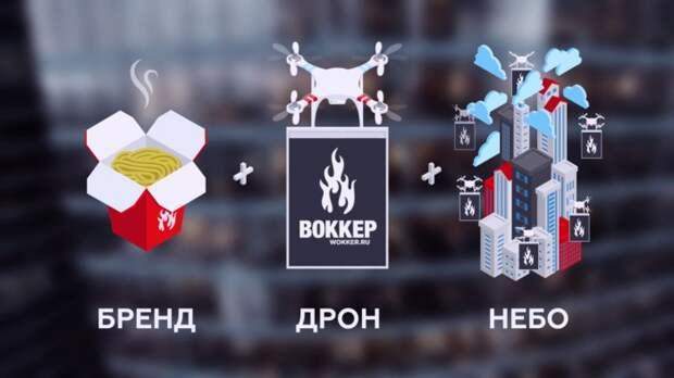 В Москве лапшу рекламируют дроны