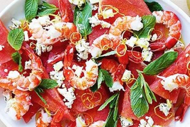 Салат с креветками рецепт с арбузом — Рецепты Джейми Оливера