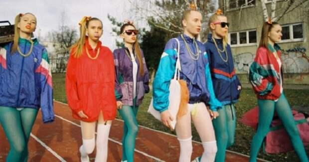 Лосины со спортивной курткой типа «adidas» - еще один неотъемлемый атрибут моды 90-х. СССР, детская одежда, мода 80-90-х