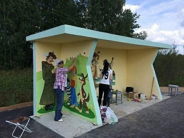Жители деревни Простоквашино в Нижегородской области вот так украсили свою остановку!
