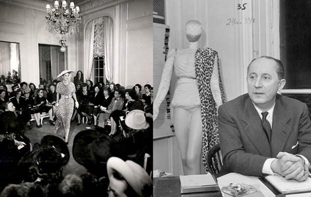 первый показ Dior в 1947 году и сам Кристиан Диор (с) www.dior.com
