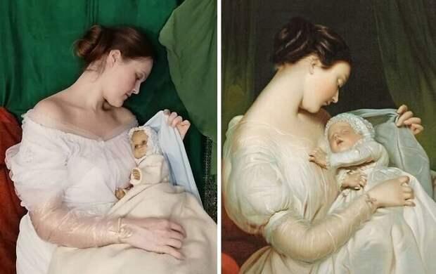 """19. Джеймс Сант """"Жена художника Элизабет с дочерью Мэри Эдит"""" (1852)"""