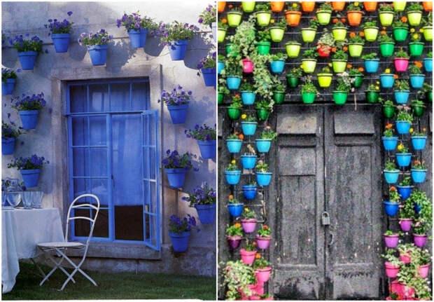 Цветочные горшки для декора фасадов.| Фото: Hercottage, pinterest.ch, FinanzaOnline.