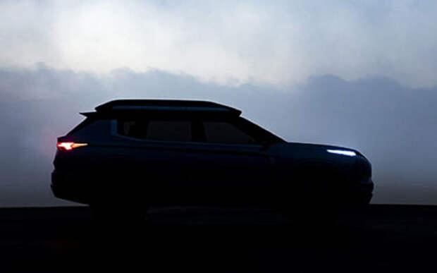 Еще один тизер нового кроссовера Mitsubishi - теперь в профиль