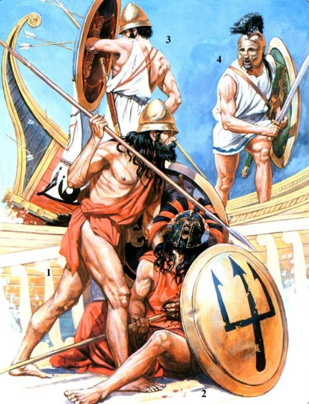 1 - пелопонесский гоплит (V в. до н.э.); 2 - мантинейский гоплит (V в. до н.э.); 3, 4 - афинские гоплиты периода последней Пеллопонесской войны.