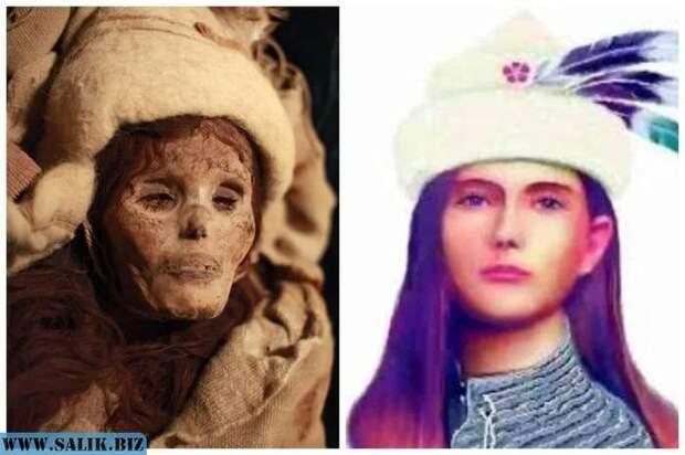 Реконструкция облика Лоуланьской красавицы - одной из найденных мумий.