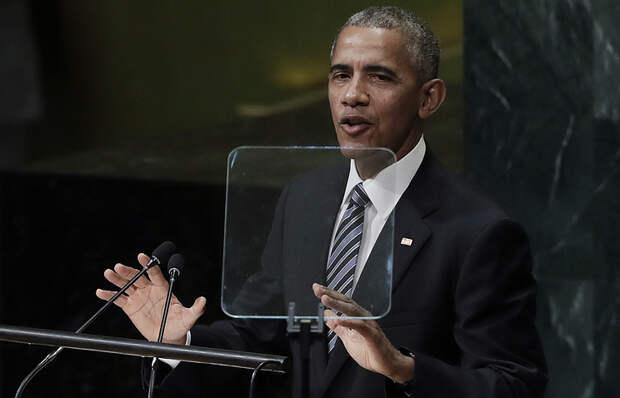 Президент США Барак Обама во время выступления в Генеральной Ассамблеи ООН в Нью-Йорке