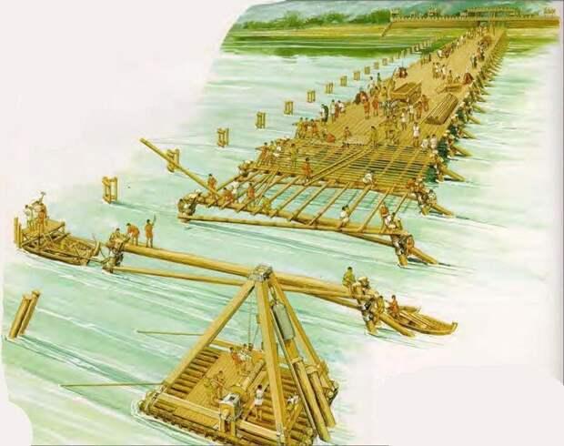 Строительство римлянами моста через Рейн. Современная иллюстрация.