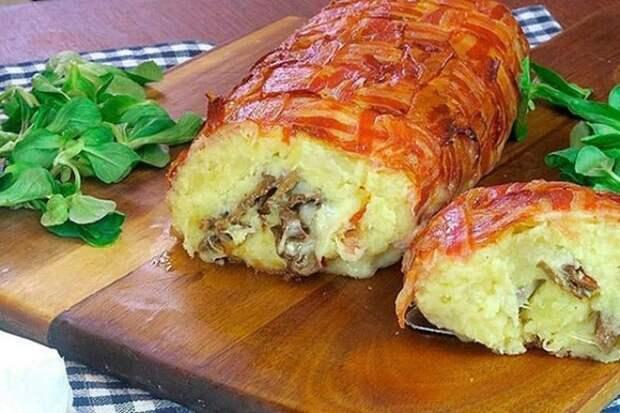 Картофельный пирог из бекона. Вкусная несладкая выпечка с сыром и грибами 2