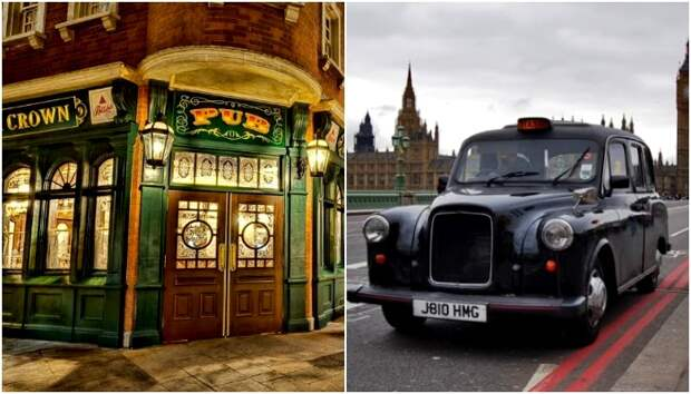 Английские традиционные пабы и кэбы также отмечены в странных законах. /Фото: london-life.ru, englishgid.ru
