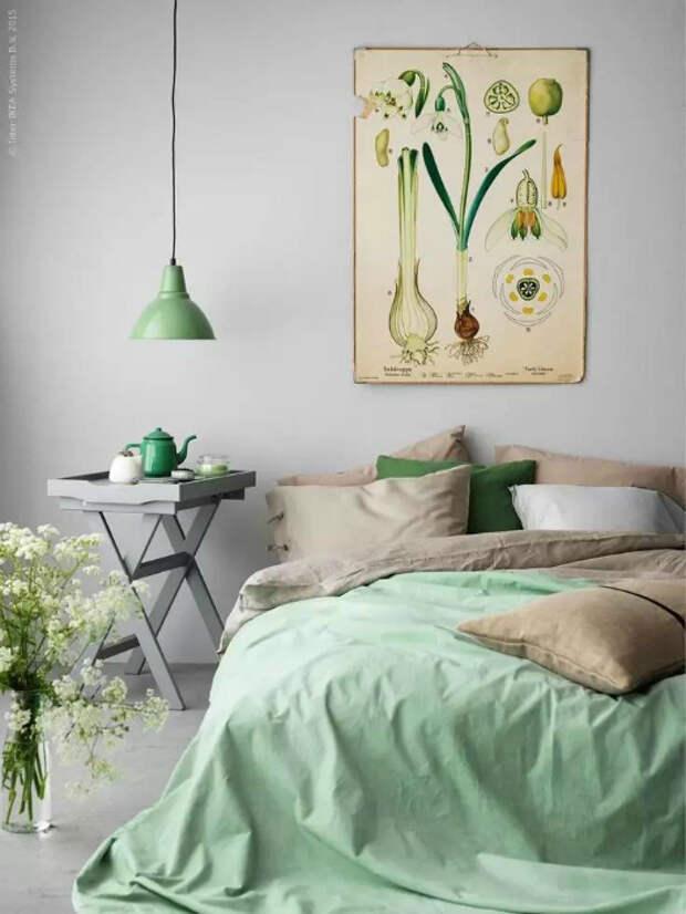 Удивительная спальня в серо-зеленых тонах.