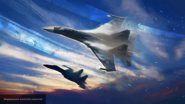 Российский истребитель Су-35 подразнил Р-8 США перехватом над Средиземным морем