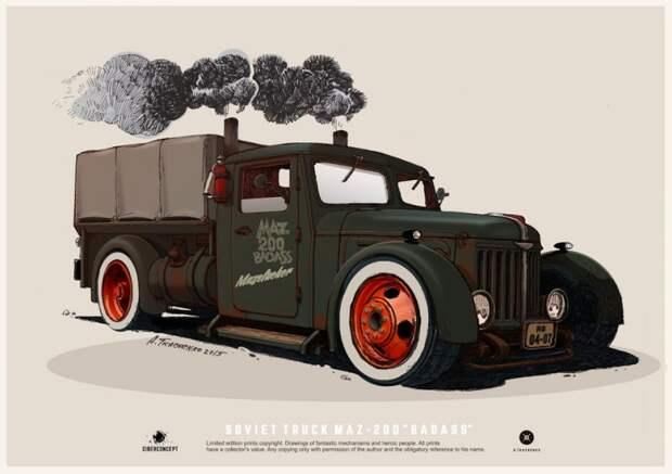 Американский кастомайзинг советских машин  или когда у человека талант автодизайн, дизайнер, рисунок