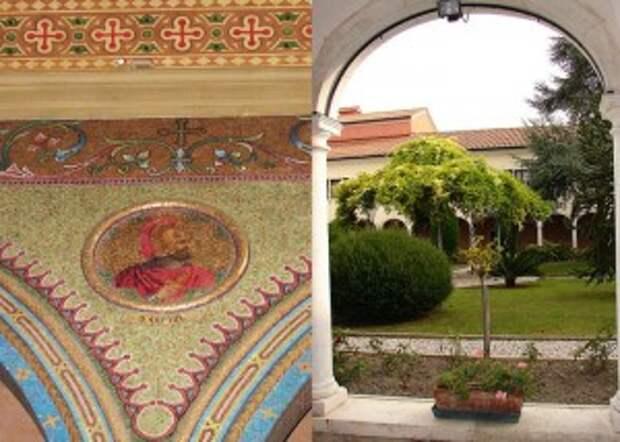 Слева,Внутреннее мозаичное убранство монастыря Мхитаристов сделано мастерами из Мурано. Сурб Вартан(Мамиконян).Справа внутренний двор монастыря