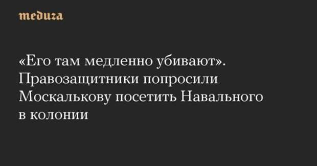 02.04.2021 14:09 : Около 30 правозащитников призвали уполномоченного по правам человека Татьяну Москалькову посетить в колонии Навального