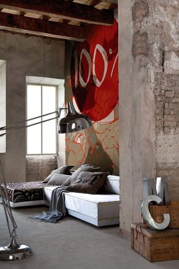 Гостинные комнаты в промышленном стиле