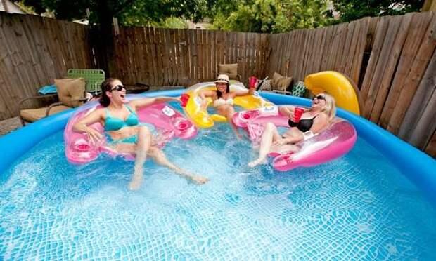 Качественный надувной бассейн для дачи - фото со взрослыми