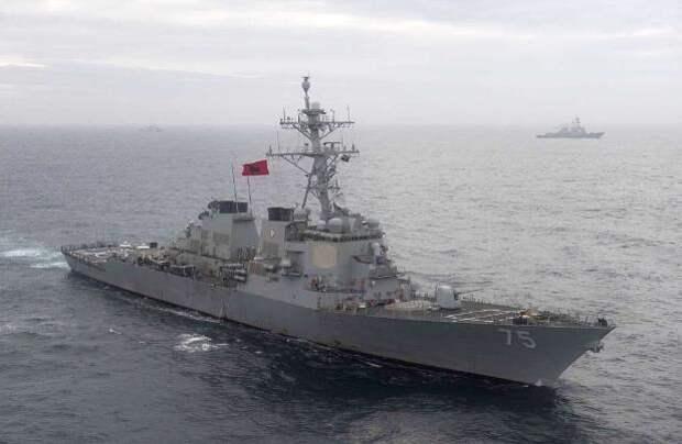 Эсминец США Donald Cook зажали российские фрегаты