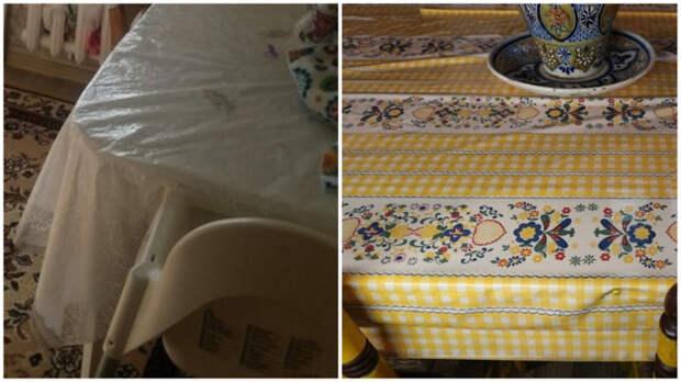 Клеёнка – весьма спорное украшение кухонного стола.