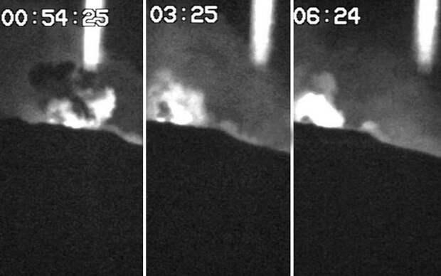 Загадочный световой столб над вулканом