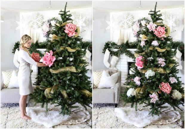 Бумажные цветы для украшения елки.