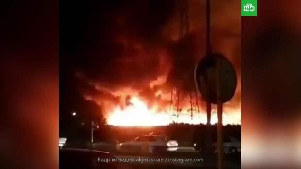 Крупный пожар в Бушере сняли на видео