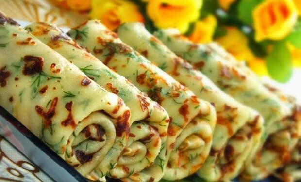 Очень вкусные блины с сыром и чесноком