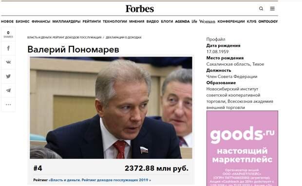 Как Пономарев попал в список Forbes
