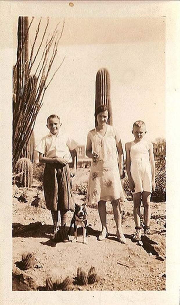 Семейная фотография на фоне дикой местности.