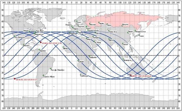 Опубликована карта зон возможного падения неуправляемой китайской ракеты