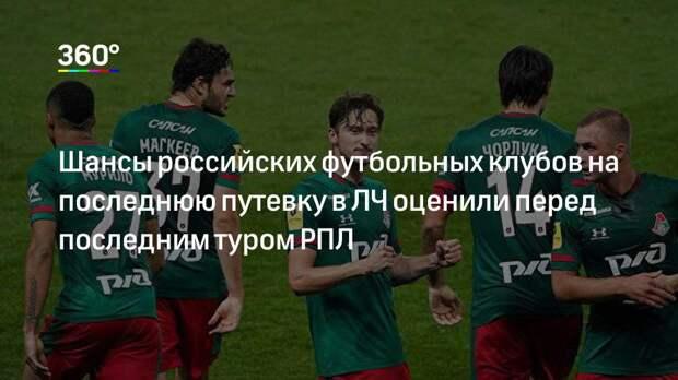 Шансы российских футбольных клубов на последнюю путевку в ЛЧ оценили перед последним туром РПЛ