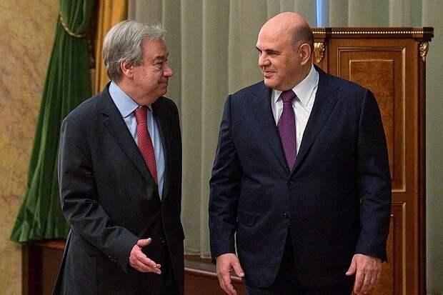 Генсек ООН признался Мишустину, что приурочил свой визит в Россию к Дню Победы