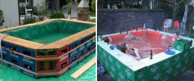 Как сделать бассейн на даче из ящиков и березента - фото