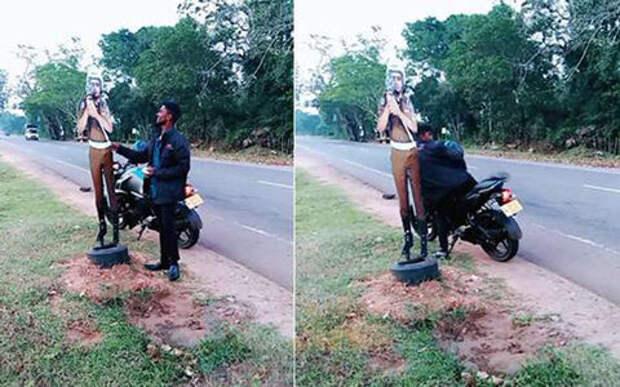 Мотоциклист попытался в шутку подкупить картонного полицейского. Его арестовали.