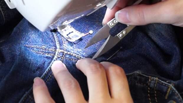 Как зашить джинсы между ног качественно