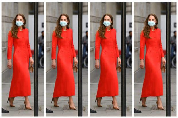 Lady in red: Кейт Миддлтон в идеальном пальто на пр...