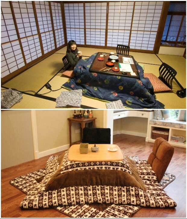 Котацу – традиционный японский стол с подогревом. | Фото: moydom.media/ blog.postel-deluxe.ru.