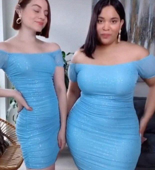 Вот как выглядит одинаковая одежда на худых и полных девушках