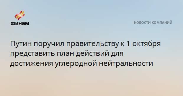 Путин поручил правительству к 1 октября представить план действий для достижения углеродной нейтральности