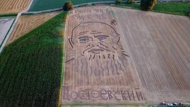 На пшеничном поле в Италии художник «нарисовал» гигантский портрет Достоевского