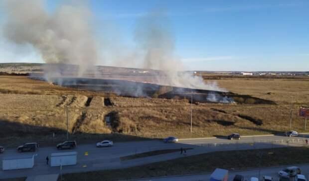 Крупный пожар из-за загоревшейся травы произошел навъезде вЕкатеринбург