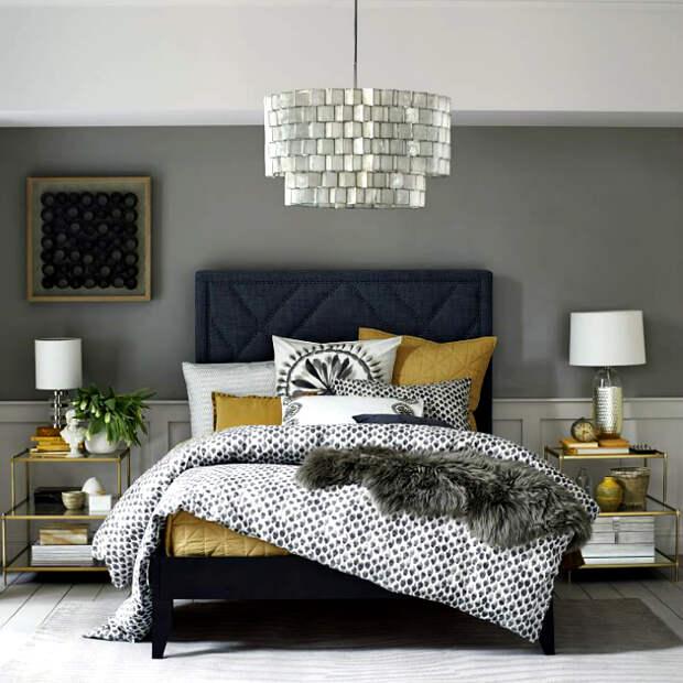 Современная спальня в серых тонах.