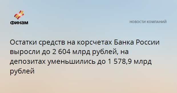Остатки средств на корсчетах Банка России выросли до 2 604 млрд рублей, на депозитах уменьшились до 1 578,9 млрд рублей