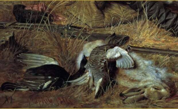 В. Перов. Охотники на привале, 1871. Фрагмент с дичью | Фото: hudojnik-peredvijnik.ru
